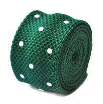 Frederick Thomas skinny knitted dark green and white polka spot tie FT1889