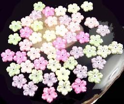 50 Mixed Color 5-Petal AB Acrylic Bead Caps 12mm - $12.00