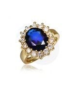 Size 8 Brass 18K Yellow Gold Plated Blue Zircon Crystal Lady Ring - $10.29