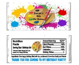 Art Paint Painting Birthday Candy Wrappers Party Favors Personalized Custom - $0.99