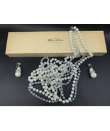 Opera Length Double Strand Natural Pearl Necklace 64 Inch & Clip Earring... - $18.99