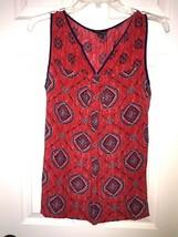 LUCKY BRAND XS $99 Red Silk Sleeveless Boho Gypsy Tunic Top Blouse Career - $29.65
