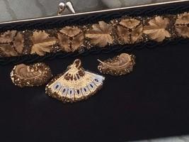 Vintage Flapper Gilded Brass Flowers Black Nylon Clutch Purse - $60.00