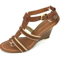 "FRANCO SARTO ""Kema"" Brown Leather Cream Canvas Wedge Sandals Size 9 Med - $34.64"