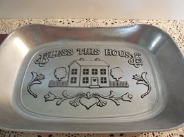 "Wilton Armatale Pewter ""Bless This House"" Bread Plate w/Care Brochure - $4.94"