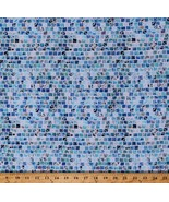 Cotton Mosaic Tiles Squares Mosaic Masterpiece Blue Fabric by Yard D757.29 - $14.95