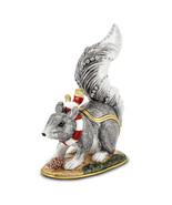Non Metal Bejeweled Maverick Winter Grey Squirrel Trinket Box (Length=2.... - $47.31