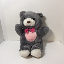 "Grey Pink Teddy Bear Enesco Plush Stuffed Animal Pink Polka Dot 16"" - $18.37"