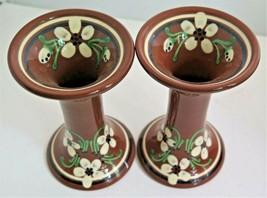 Mid Century Modern NITTSJO SWEDEN Floral Design Pair Vases or Candle Hol... - $34.20