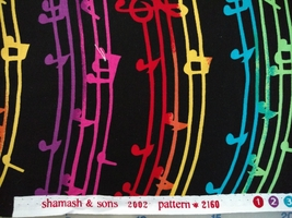 1/2yd music/colorful notes/staff/treble clef on black quilt fabric-free shipping image 5