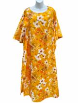 Vintage 70s Sears At Home Wear Floral MuuMuu House Dress apron robe Wome... - $39.59