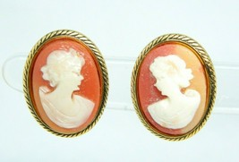 Pink Faux Shell Cameo Acrylic Gold Tone Vintage Clip Earrings - $19.79