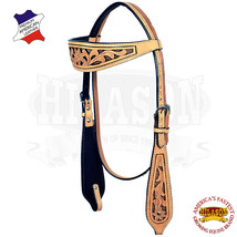 Western Horse Headstall Tack Bridle American Leather Natural Hilason U-2-HS - $63.35