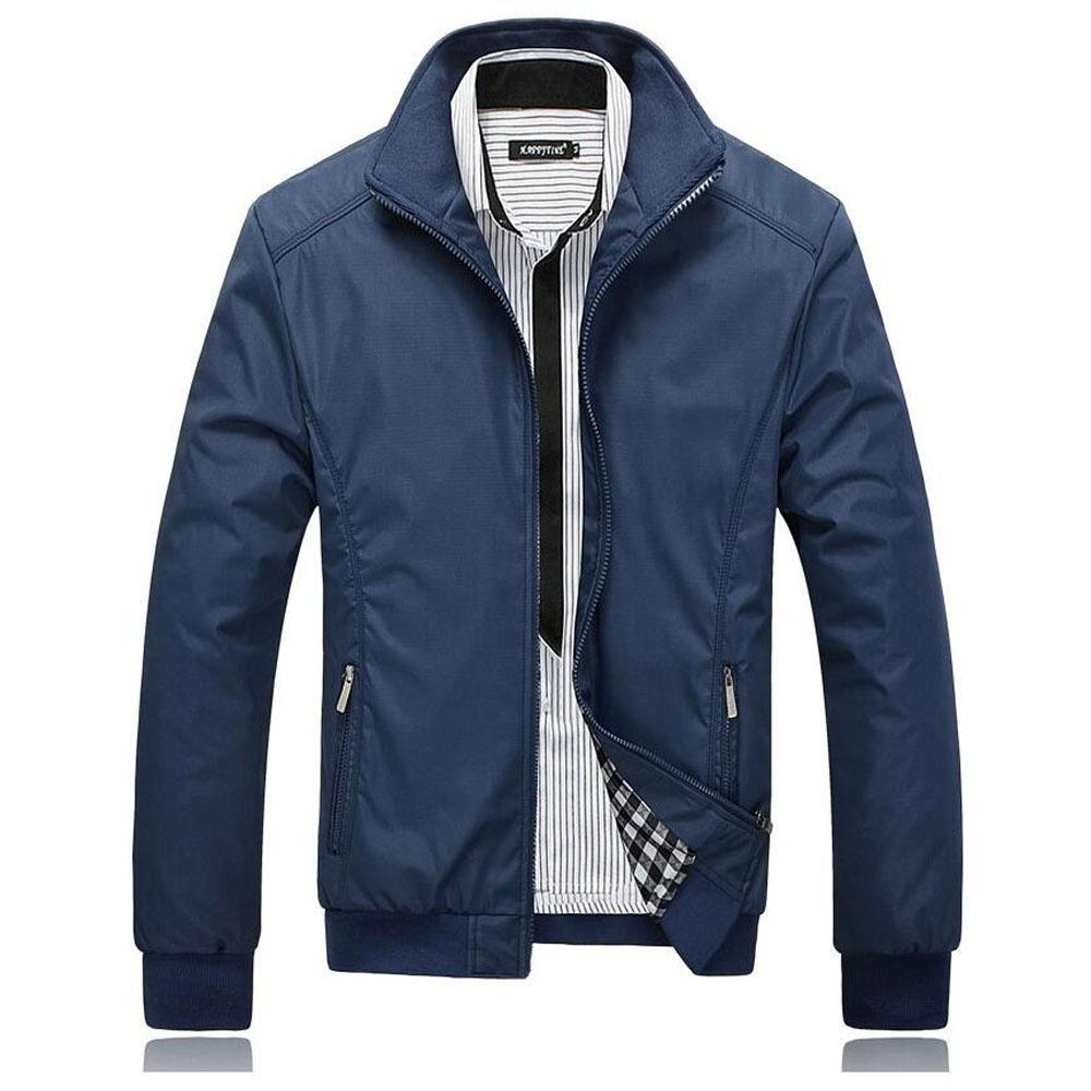 2018 Casual Jacket Coat Men's Fashion Winter Long Sleeve Jacket Slim Fit Stand C