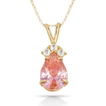 3.70 CT Pink Sapphire Pear Shape 4 Stone Gemstone Pendant & Necklace 14K... - $133.50