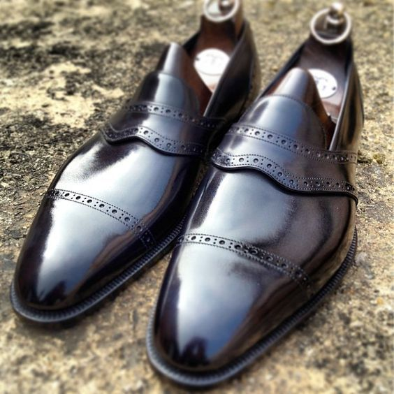 Men Stylish Black Color Moccasin Loafer Slip Ons Cap Toe Handmade Leather Shoes image 1