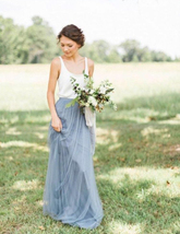 DUSTY BLUE Tulle Maxi Skirt High Waist Bridesmaid Tulle Skirt Blue Wedding Skirt image 9