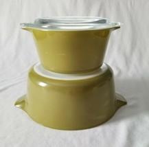 2 Vintage Pyrex Verde Casserole Dishes #473 1 Qt #475 2.5 Qt Avocado Green  - $19.79