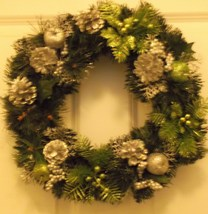 Silver and green holiday wreath - $20.00