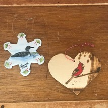 Lot of Wood Burned Heart w Red Cardinal & Painted Ceramic Snowflake w Lo... - $11.29