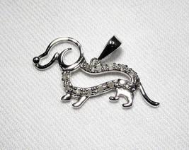 Estate Sterling Silver Diamond Weiner Dog Dachshund Necklace Pendant C2152 - $52.15