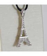 WHITE GOLD PENDANT 750 18K, EIFFEL TOWER, LONG 2.8 CM WITH ZIRCON - $287.14
