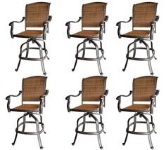 Outdoor wicker bar stool with arms set of 6 Santa Clara cast aluminum Dark Bronz image 1