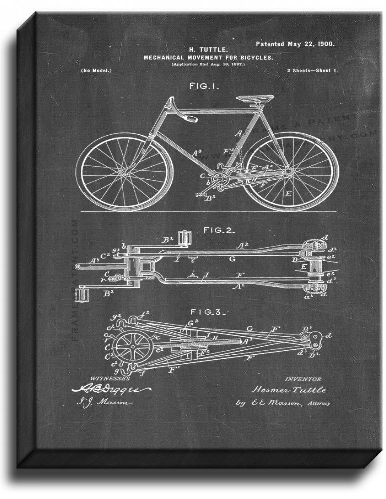 Primary image for Mechanical Movement for Bicycles Patent Print Chalkboard on Canvas