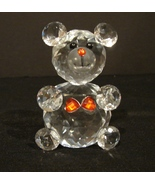 Swarovski Faceted Crystal July Teddy Bear with Two Ruby Red  Hearts - $30.00