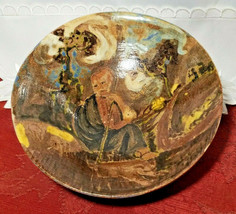 """HAND TURNED AND PAINTED JOSEPH THE SHEPHERD EARTHENWARE BOWL 6 1/4"""" x 1 3/4"""""""