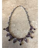 Beautiful Purple Swaroski Crystal Necklace Purple Prom Purple Brides Maid - $29.99