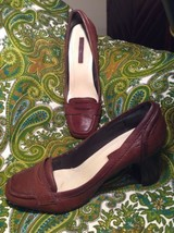 Bandolino Joab Women's Brown Leather Penny Loafer Square Toe Pumps Sz 9M - $26.72