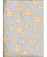New A.E. Nathan Comfy Flannel Print Giraffes Bubbles on Grey Fabric bt H... - $3.96