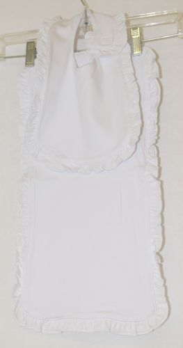 Blanks Boutique Infant Bib And Burp Cloth Set Solid White With Ruffle
