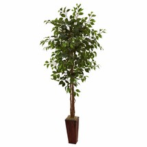 6' Ficus Tree W/Bamboo Planter Home Office Flowers Nearly Natural  - $102.95