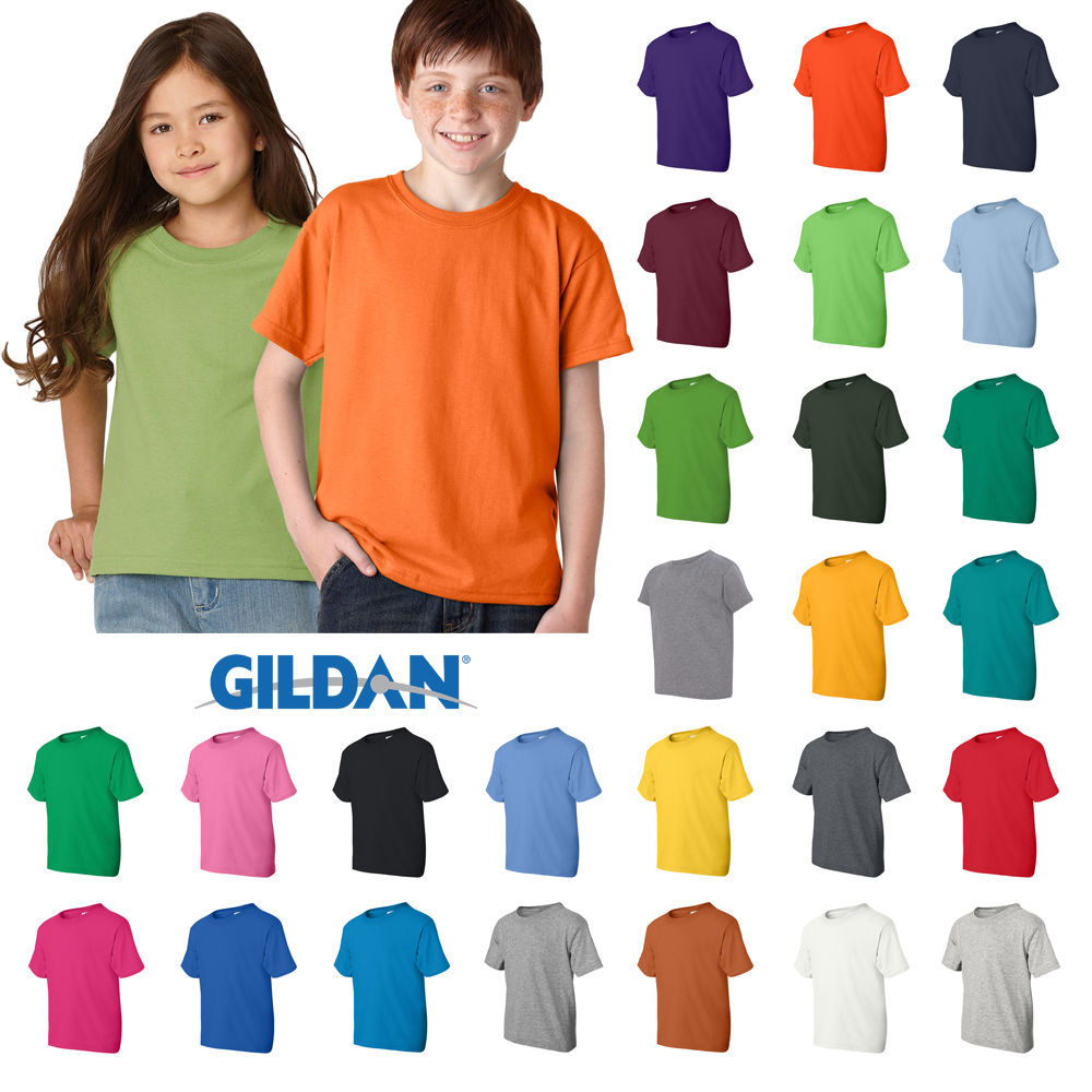 Gildan Boys Girls Youth DryBlend 50/50 T-Shirt Plain Basic Tee XS - XL  8000B - $7.99