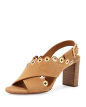 Chloe Eyelet-Studded Suede Sandal, Angora Beige Size 40.5 - $339.99