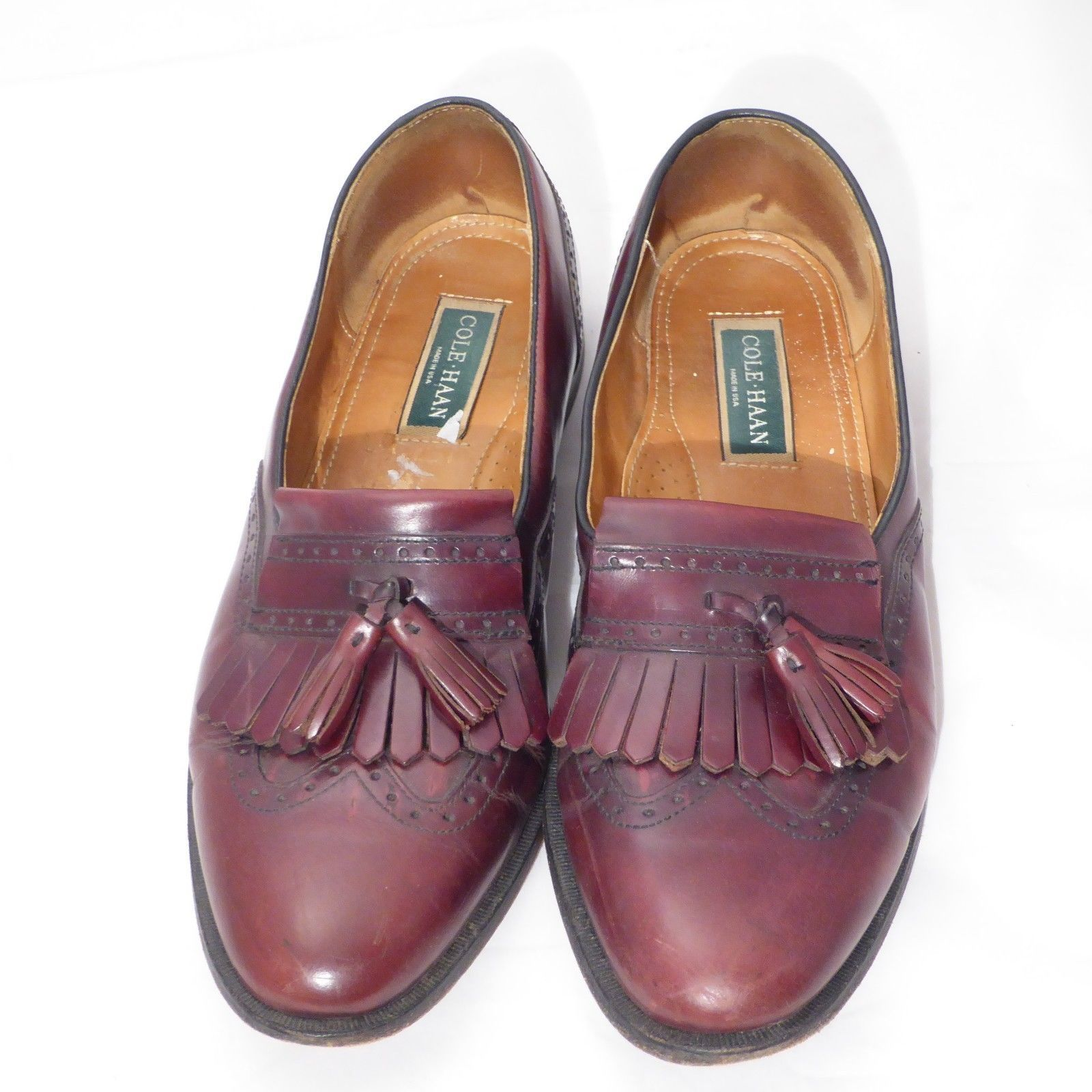 113e4dd4154 57. 57. Previous. Cole Haan USA Burgundy Leather Kiltie Tassel Wingtip  Loafer Dress Shoe Men 13 D