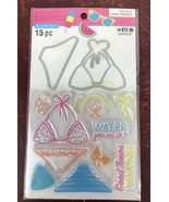 Recollections New POOL-riffic Clear Stamps Die Cut Set Swimsuit Sun Fun - $11.30