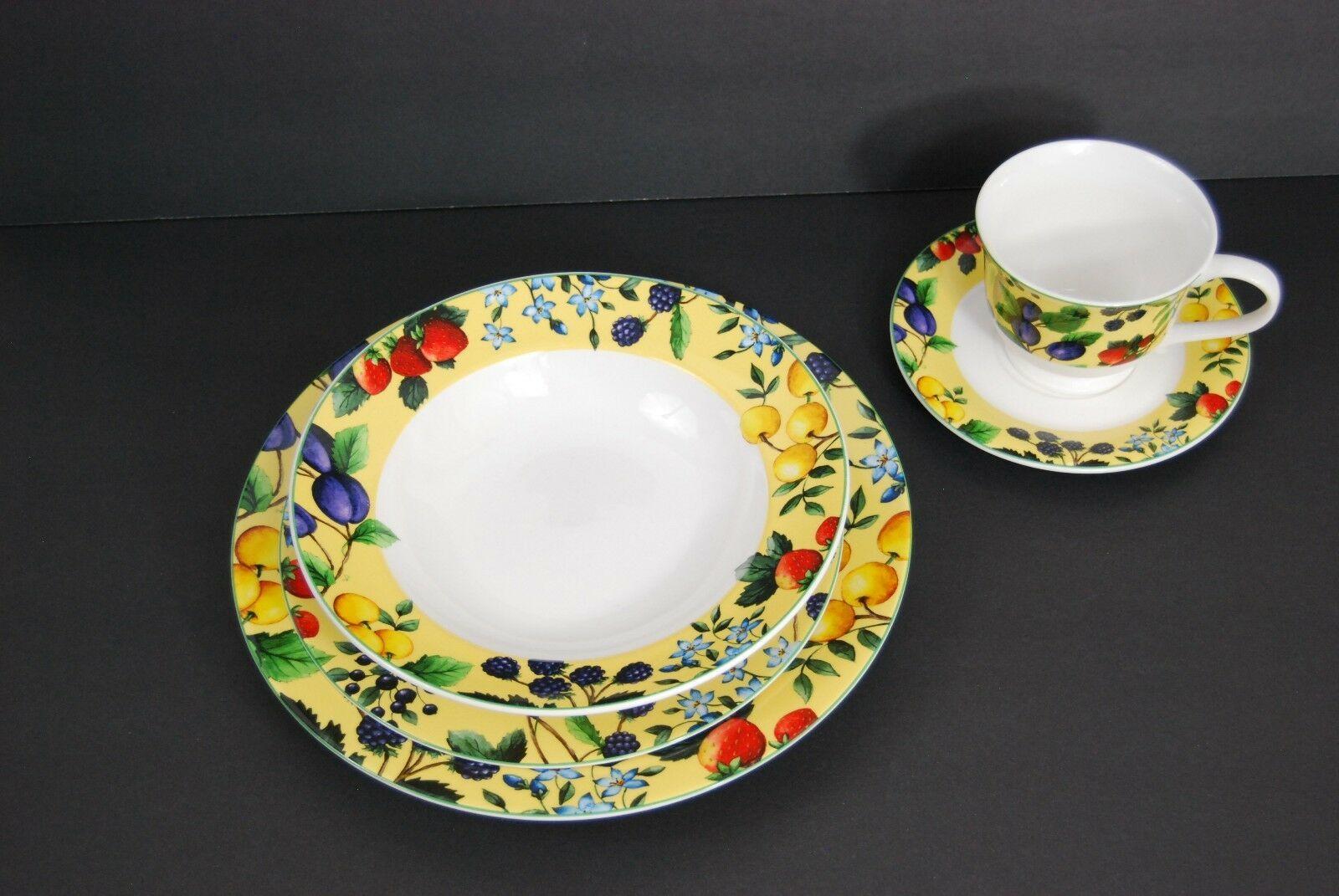 Gibson Elite Claire Murray Bella Sola Yellow Fruit & Berries Plates, Dinnerware image 2