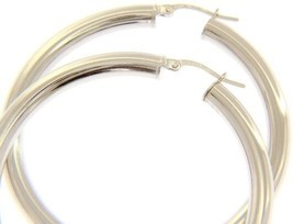 18K WHITE GOLD ROUND CIRCLE HOOP EARRINGS DIAMETER 40 MM x 4 MM, MADE IN ITALY image 1