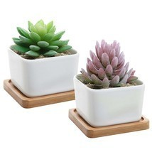Set of 2 Decorative Small White Square Ceramic Succulent Plant Pot w/Bam... - $10.88