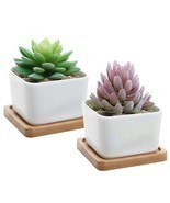 Set of 2 Decorative Small White Square Ceramic Succulent Plant Pot w/Bam... - £7.96 GBP