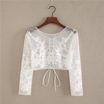 Wedding Long Sleeve Lace Crop Top Women White Floral Crop Lace Shirts Plus Size image 1