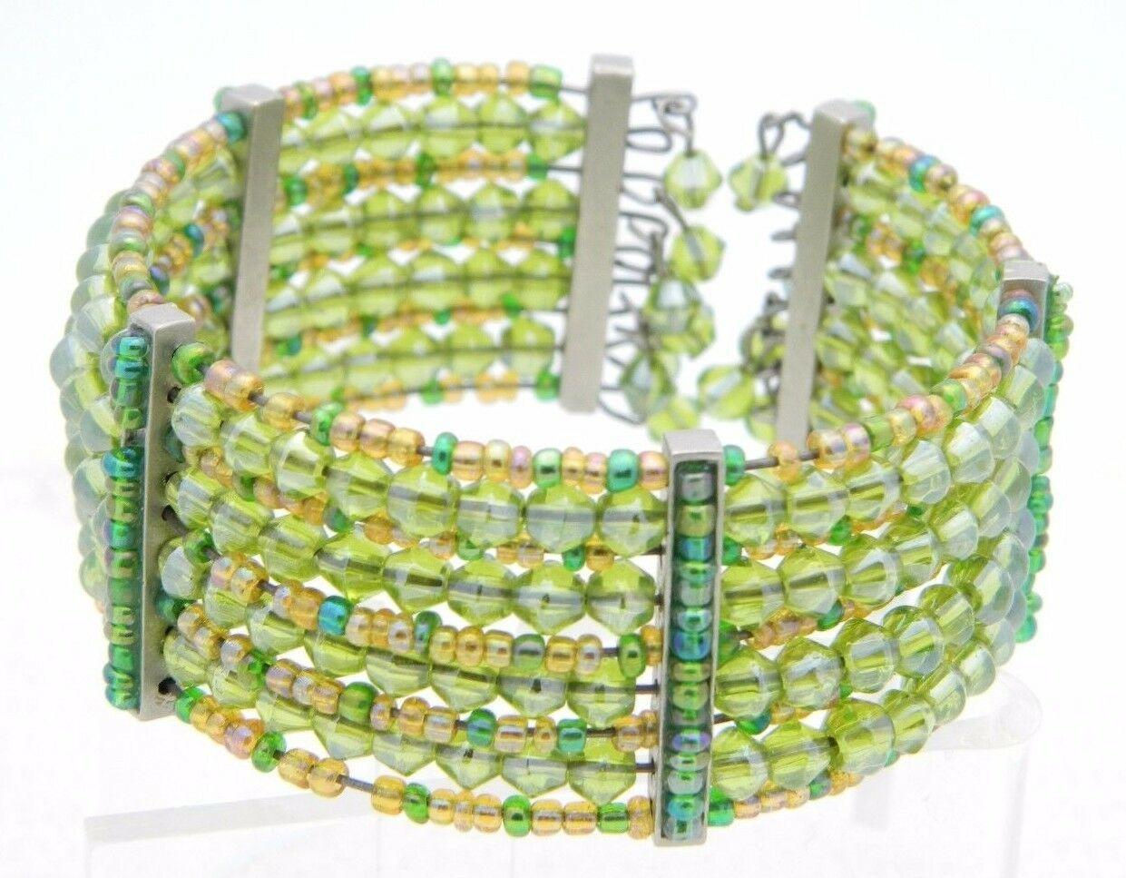VTG Multi-Colored Green Glass Bead Beaded Cuff Bracelet