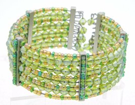 VTG Multi-Colored Green Glass Bead Beaded Cuff Bracelet - $29.70