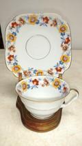 Antique Bareuther Bavaria Demitasse Tea Coffee Cup & Square Saucer Floral Ex Con - $9.49