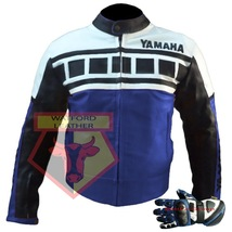 Yamaha Blue Motorbike Motorcycle Cowhide Leather Jacket With Free Pair Of Gloves - $214.99