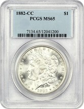 1882-CC PCGS MS65 - Morgan Argent Dollars - $523.79