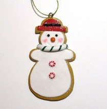 Clay Snowman Christmas Ornament Glitter Peppermint Candy Cane Red Hat KN212 - $9.99